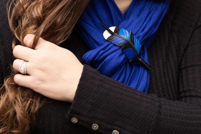 leather blue jay feather shawl pin