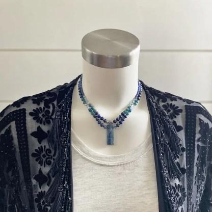 blue kyanite beaded necklaces