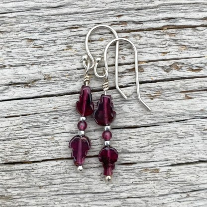 gemstone and sterling silver dangle earrings with January birthstone