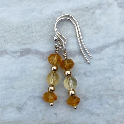gemstone and sterling silver dangle earrings with November birthstone