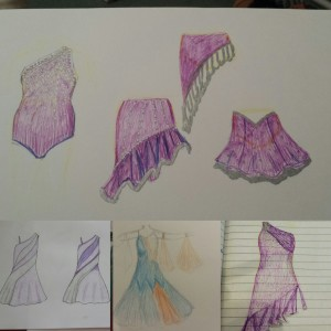 Recently I have been dredging out the old art skills and mocking up some dress designs. The purple ones are for a pair of Latin dresses, and the blue one is mocking up a modification to Nikki's Ballroom dress