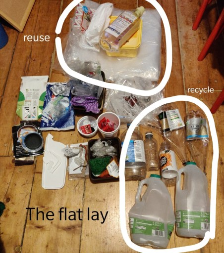 A layout of household plastic waste from my plastic audit, it is grouped and some objects marked 'reuse' and 'recycle'