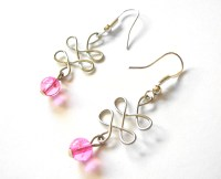 Wired in Pink - wire wrapped earrings