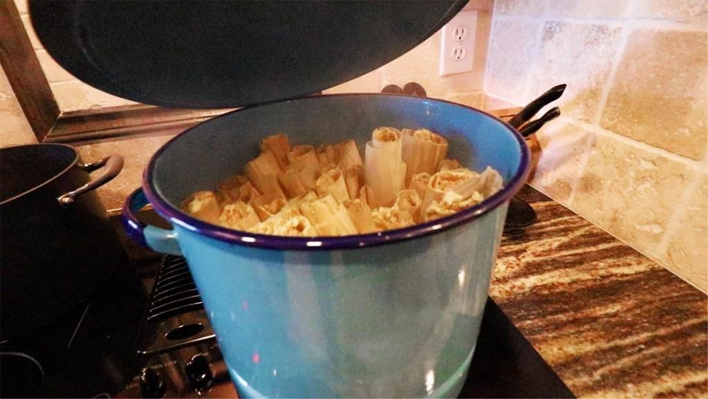 Pork Tamale Recipe - Tamales In Steamer Pot