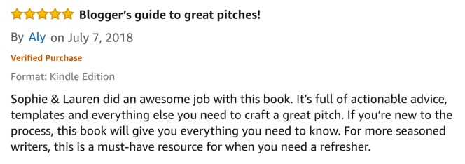 A 5 star review of the ebook How to Pitch a Blog Post