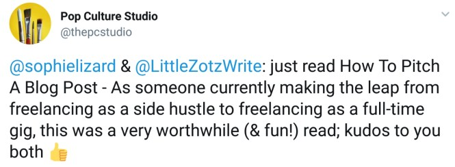 A screenshot of a tweet praising the book How to Pitch a Blog Post