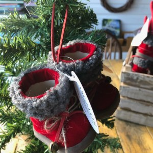 Hanging Velvet Santa Boots with bells