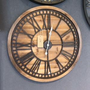 Large Wooden Clock with Metal Front