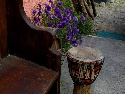 Church bench and tribal drum