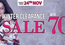 Ideas by Gul Ahmed offering Upto 70% at its Winter Clearance Sale