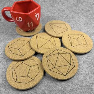 Set of 7 Dice Coasters with D20 Mug