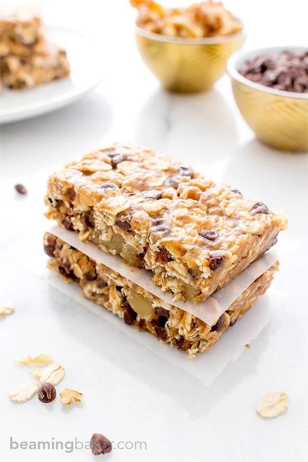 No Bake Chewy Chocolate Chip Granola Bars Vegan Gluten
