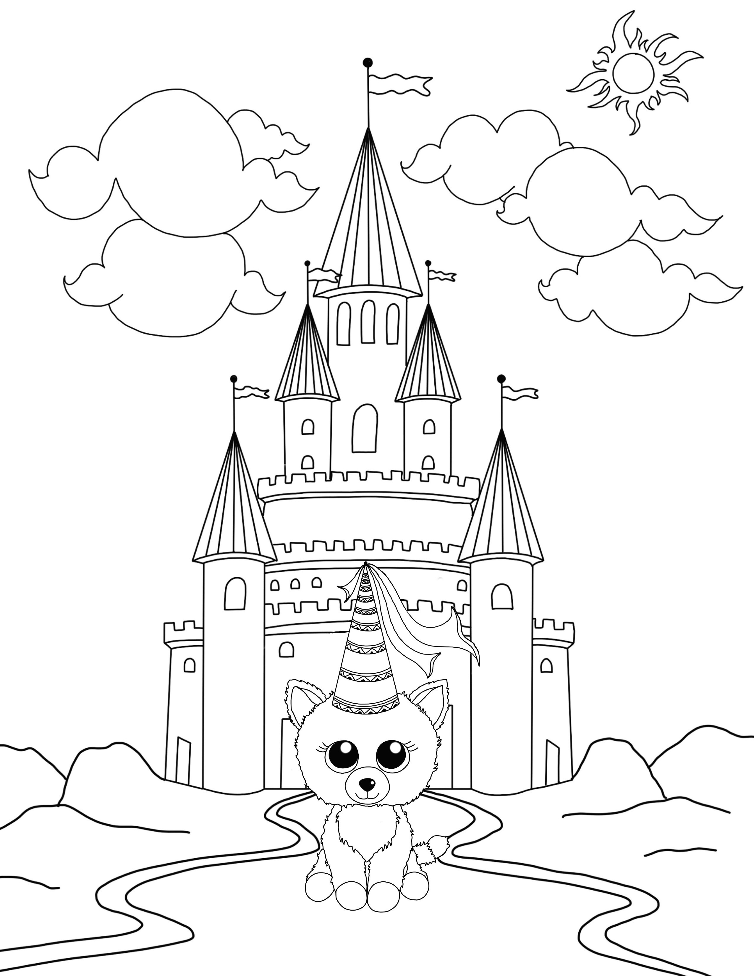 Cat Princess High Resolution Coloring Page Download