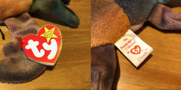 Claude the Crab Beanie Baby with 5th generation hang tag and 6th generation tush tag