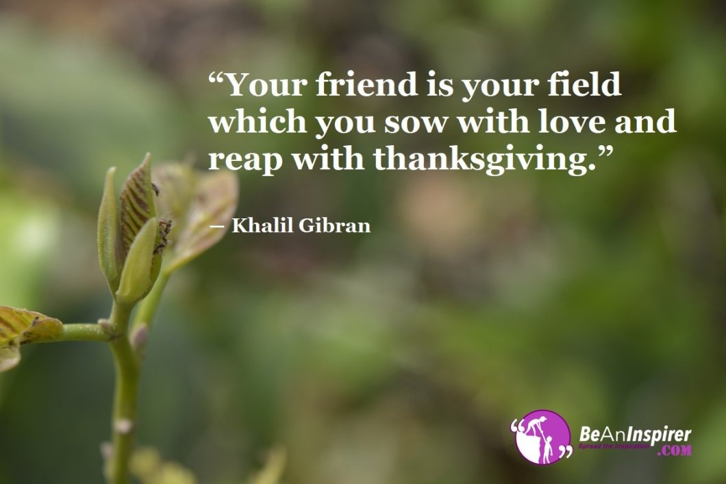 Your-friend-is-your-field-which-you-sow-with-love-and-reap-with-thanksgiving-Khalil-Gibran-Top-100-Friendship-Quotes-Be-An-Inspirer