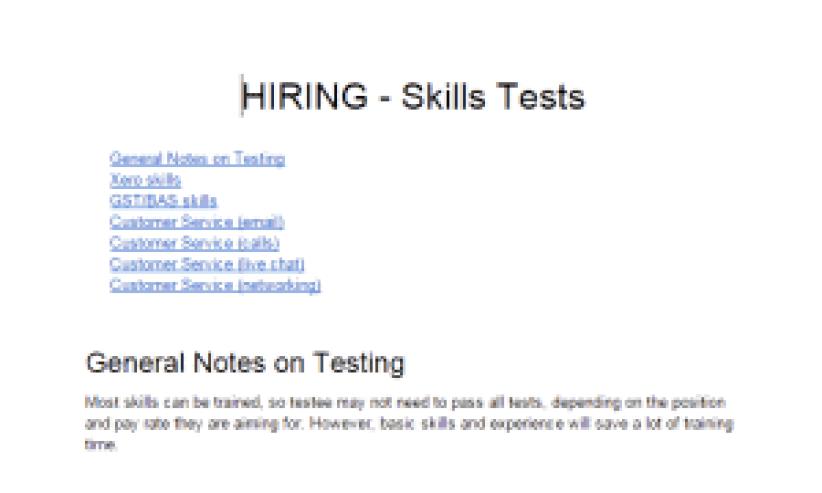 Hiring skills test