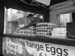Billy Howard of Billy's Eggs on Lancaster market