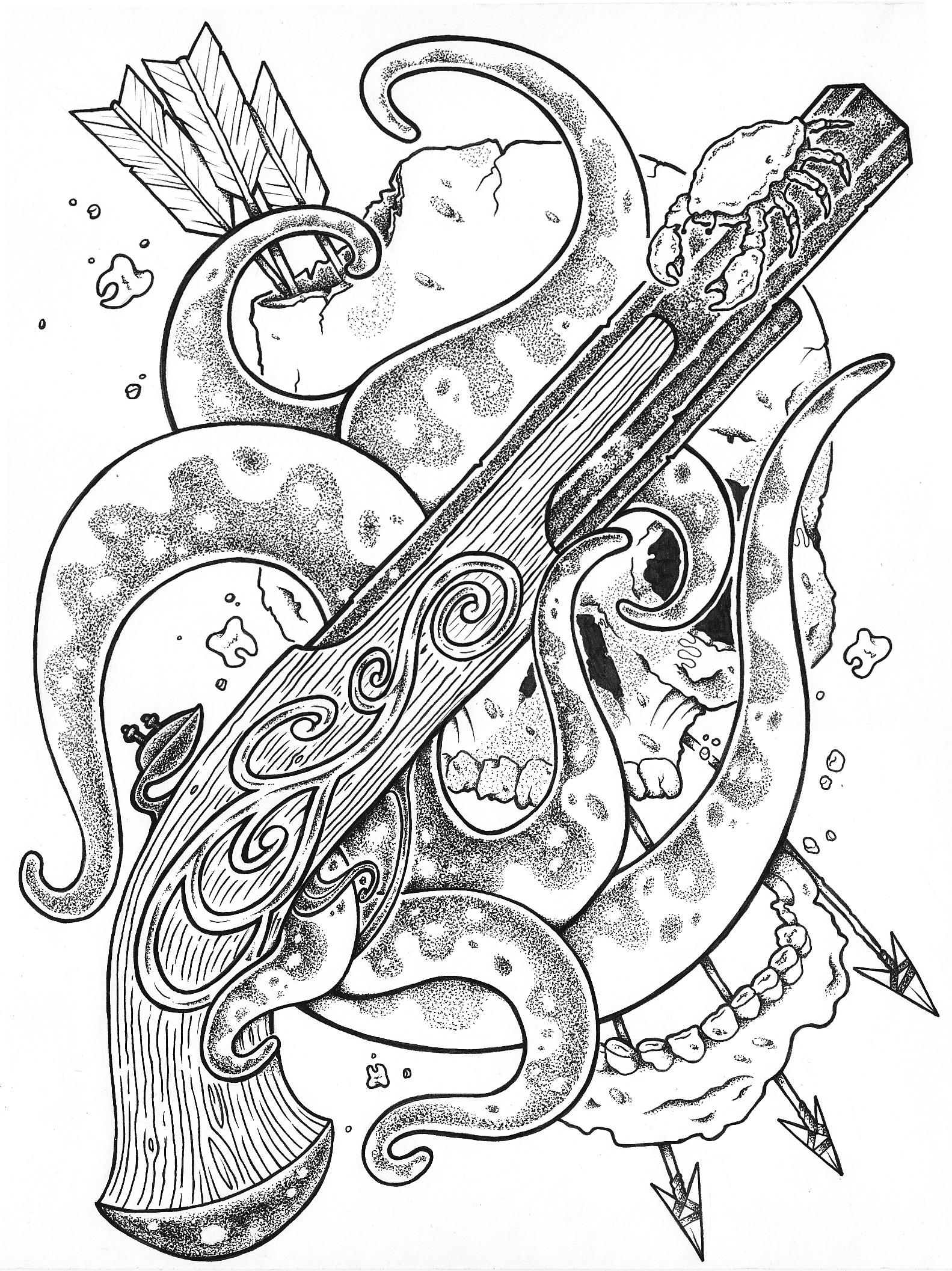 Pirate Compass Rose Sketch Coloring Page Gamer Sugar Skull Free Printable
