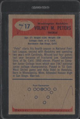 1955 Bowman #17 Volney Peters (Back)