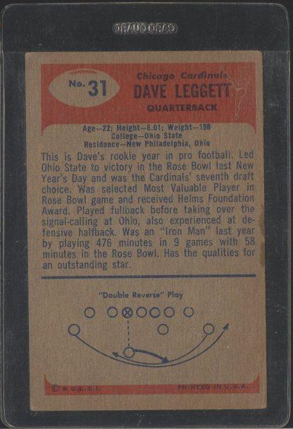 1955 Bowman #31 Dave Leggett (Back)