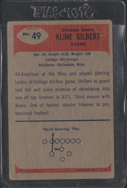 1955 Bowman #49 Kline Gilbert (Back)