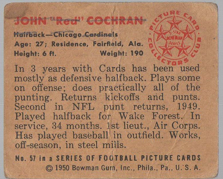1950 Bowman #57 John Cochran (back)