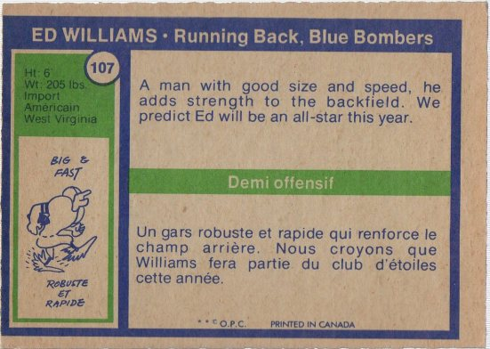 1972 O-Pee-Chee CFL #107 Ed Williams (back)