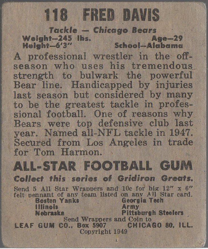 1949 Leaf #118 Fred Davis (back)
