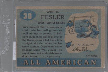 Wes Fesler 1955 Topps All American #30 (back)