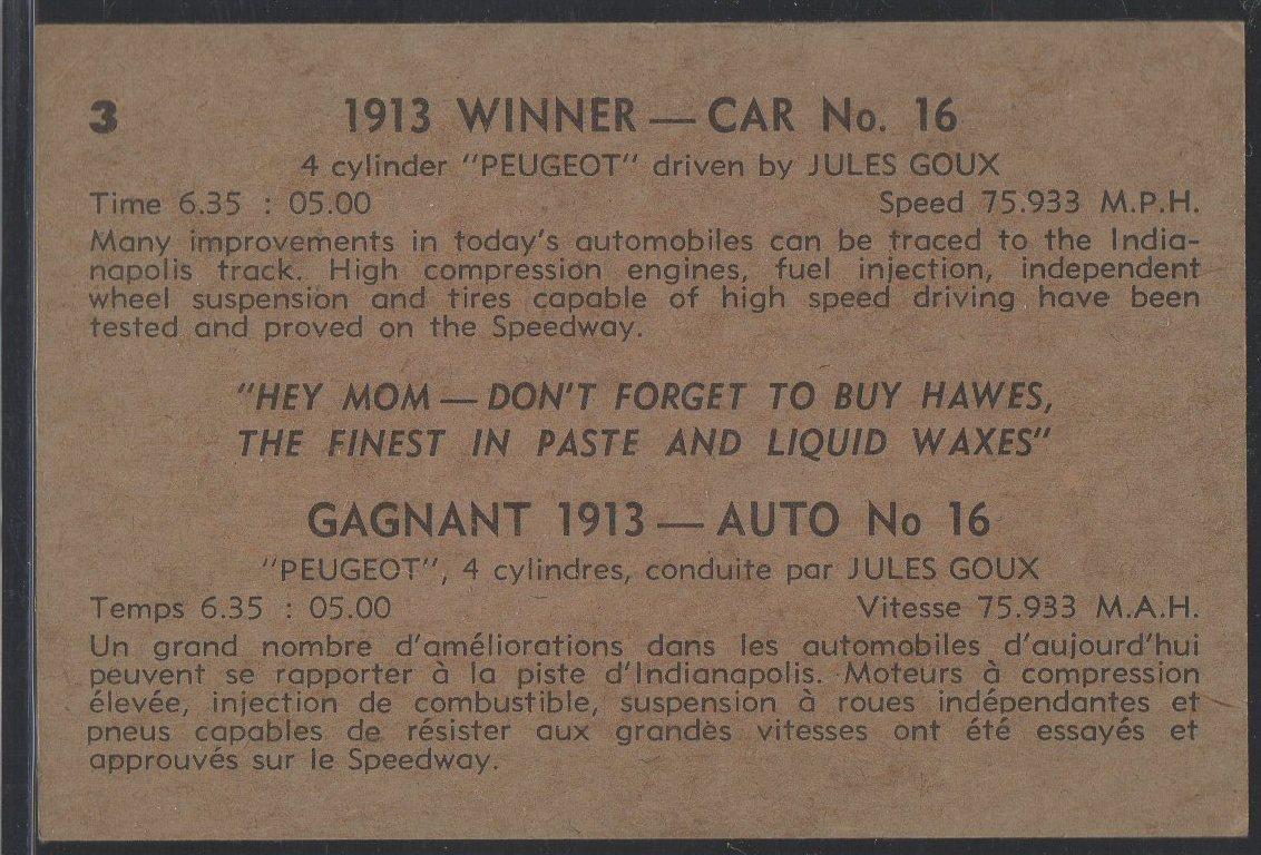 1960 Hawes Wax Indy #3 Jules Goux (back)