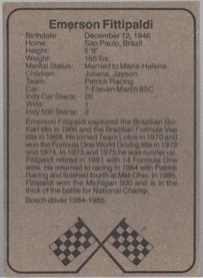 1986 BOSCH INDY #2 EMERSON FITTIPALDI (back)