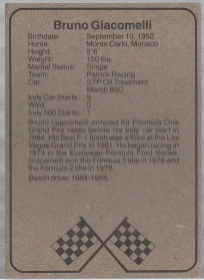 1986 BOSCH INDY #3 BRUNO GIACOMELLI (back)
