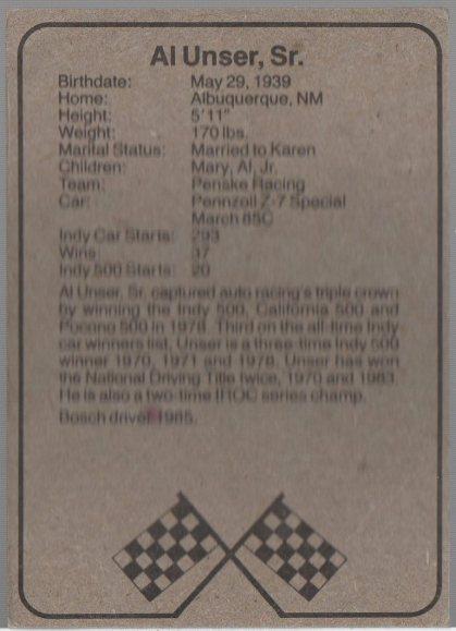 1986 BOSCH INDY #8 AL UNSER, SR. (back)