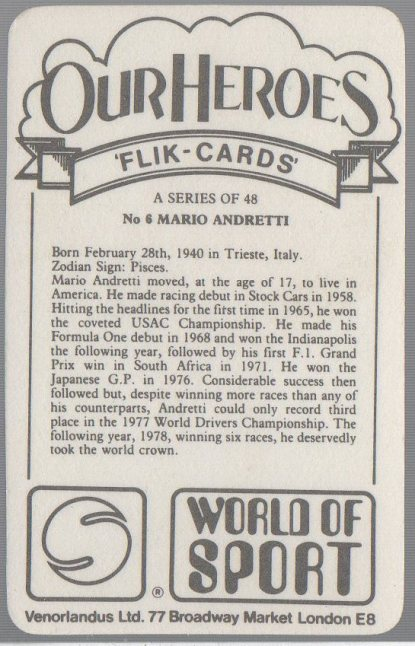 Mario Andretti 1979 Venorlandus World of Sport Our Heroes Flik-Cards #6 (back)