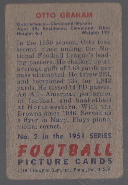 1951 Bowman #2 Otto Graham (back)