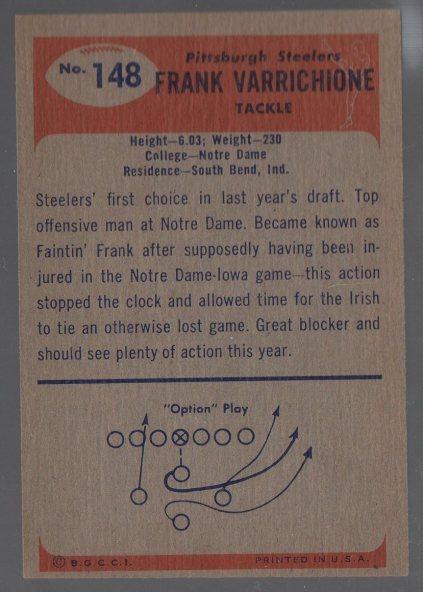 1955 Bowman #148 Frank Varrichione (back)
