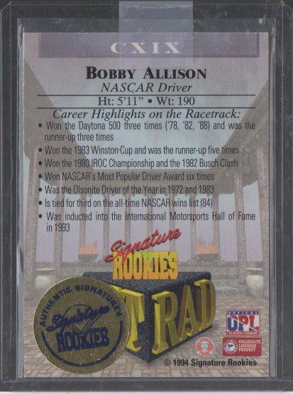 1994 Signature Rookies Tetrad Titans Autographs #119 Bobby Allison (back)