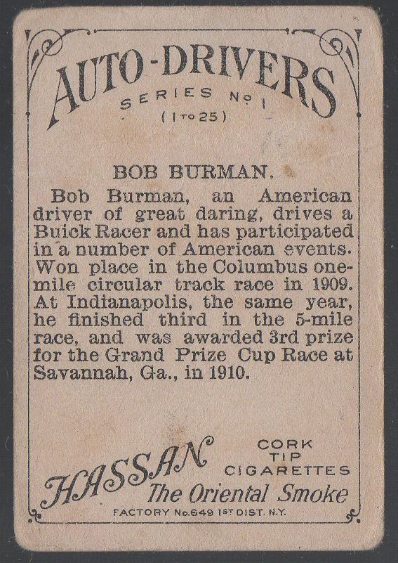 1911 American Tobacco Auto Drivers #2 Bob Burman (Hassan Back) (back)