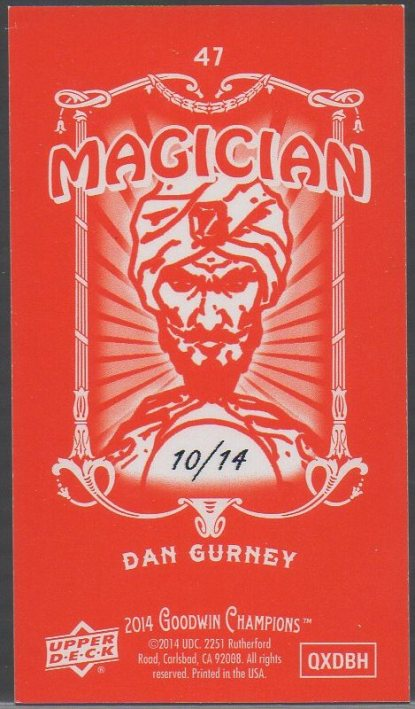 2014 Upper Deck Goodwin Champions - Mini Foil Magician Red #47 Dan Gurney SN14 (back)