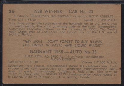 1960 Parkhurst Hawes Wax Indy #26 Floyd Roberts (back)