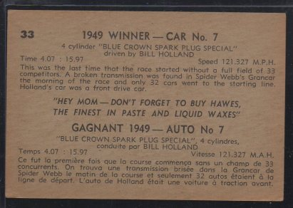 1960 Parkhurst Hawes Wax Indy #33 Bill Holland (back)