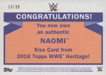 2016 Topps WWE Heritage - Diva Kiss Cards #NNO Naomi #d15/99 (back)