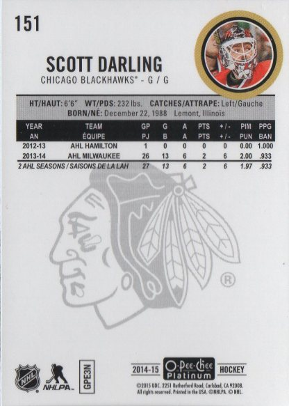 2014-15 O-Pee-Chee Platinum #151 Scott Darling (back)