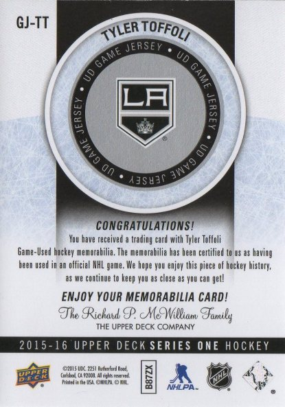 2015-16 Upper Deck Game Jersey #GJTT Tyler Toffoli (back)