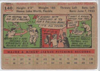 1956 Topps #140b Herb Score RC (back)