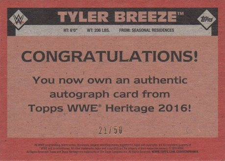 2016 Topps WWE Heritage - Autographs Silver #NNO Tyler Breeze #d21/50 (back)