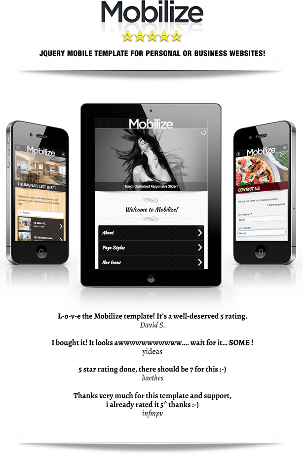 Mobilize - Touch Optimized Mobile Template - 1