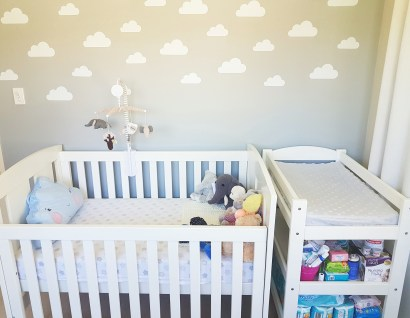 Nursery cot and change table