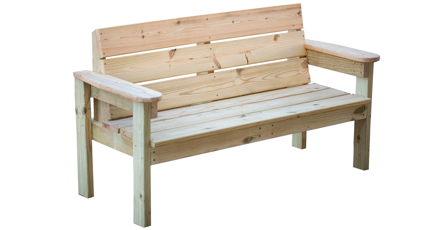 Outdoor Garden Bench - Unfinished - White Background - Pressure Treated Wood
