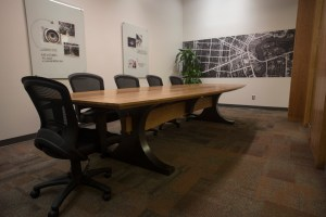 Side and base angle of cherry boardroom table for SMS Engineering